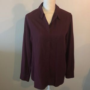 Uniqlo rayon burton up blouse in burgundy